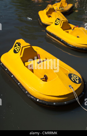 Paddle boats for sale on a Summer's day in Regents Park London. - Stock Photo