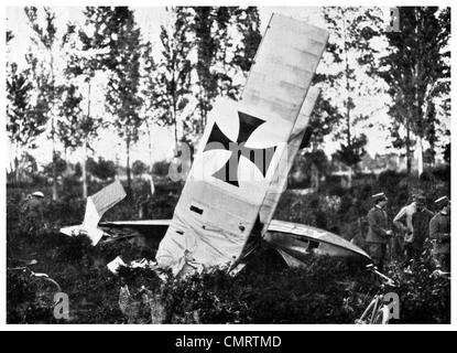 1918 Austrian Airplane shot down Italian War front - Stock Photo
