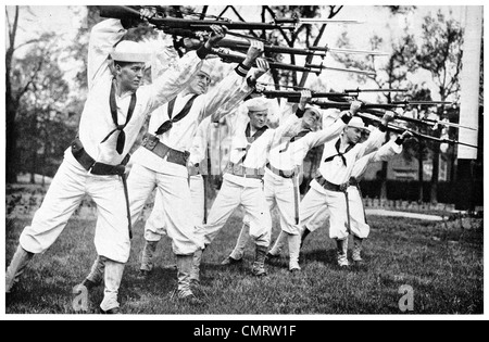 1918 US Navy Naval Sailors training to go over the top bayonet rifle - Stock Photo