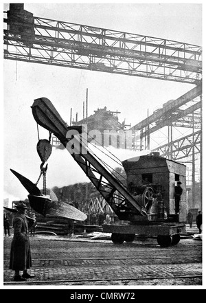 1918 Hog Island Track Crane carrying propeller from machine shop to shipway military police shipyard Hog Island - Stock Photo