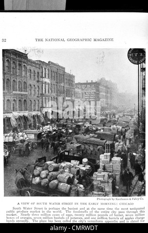 1919 South Water Street early morning Chicago - Stock Photo