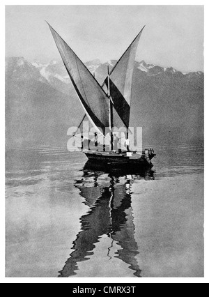 1919 Swiss lateen sail Butterfly boat Lake Geneva Switzerland - Stock Photo