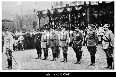 1919 Allied generals honoring General Petain at Metz President Poincare Baton of Marshal - Stock Photo