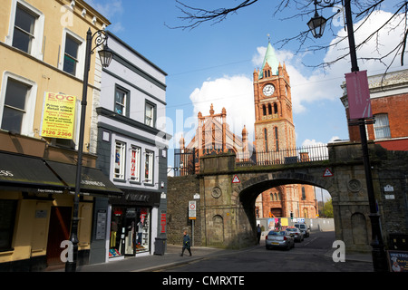 shipquay street and shipquay gate with guildhall inside the walls of Derry city county londonderry northern ireland - Stock Photo