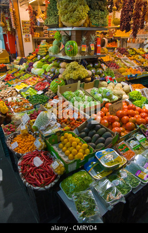 Greengrocer inside Mercado de Triana market hall central Seville Andalusia Spain - Stock Photo
