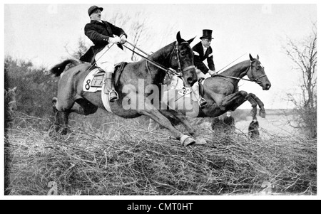 1923 His Royal Highness Prince of Wales Horse racing water jump Astwell Mill Captain W G Shaw Stewart on Jean III - Stock Photo