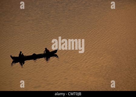 Fishing on the Irrawaddy or Ayeyarwady River in Bagan, Myanmar (Burma), South East Asia - Stock Photo