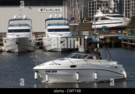 Fairline Motorboat testing facility, Ipswich Haven Marina, Suffolk, UK. - Stock Photo