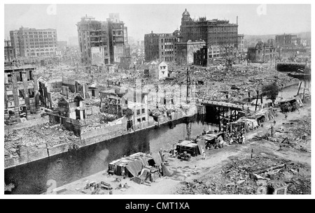 1923 Business section of Tokyo after Earthquake  Great Kantō earthquake 142,800 killed Japan - Stock Photo