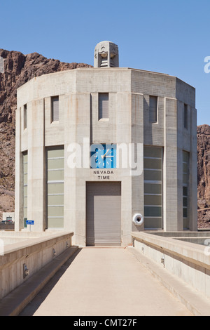 Hoover Dam and Lake Mead Hydroelectric power generation Intake tower and pedestrian bridge - Stock Photo