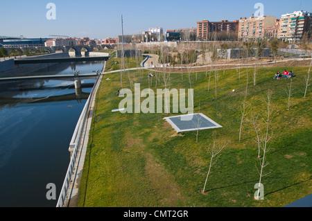 Madrid Rio new parkland recreational area around River Manzanares Madrid Spain Europe - Stock Photo