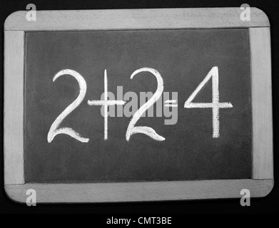 1940s SMALL WOODEN-FRAMED CHALKBOARD READING 2+2=4 - Stock Photo