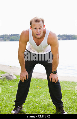 Man resting after running - Stock Photo
