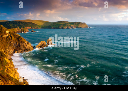 The South West Coast Path along English Channel cliff towards Bolt Tail, Outer Hope, South Devon, England, UK, EU - Stock Photo