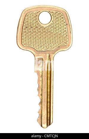 Yellow metallic key isolated on white - Stock Photo