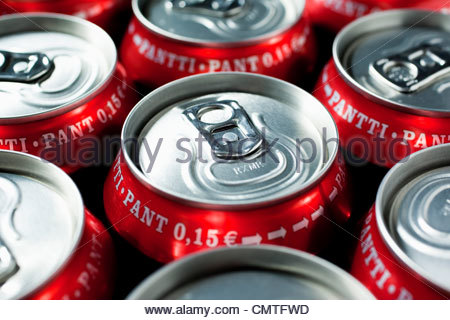 Close-up of unopened pop-cans - Stock Photo