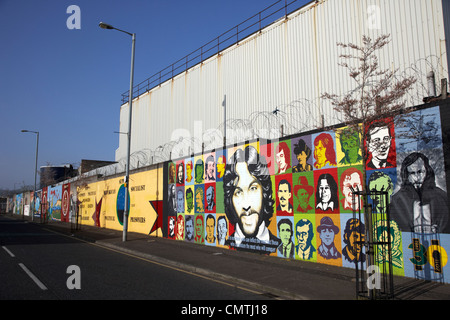 irish republican and hunger strike wall murals on northumberland street off lower falls road belfast northern ireland - Stock Photo