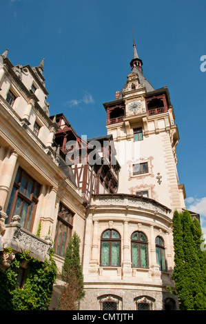 Beautiful castle of Peles in Romania. Idyllic royall castle in the Romanian mountains - Stock Photo