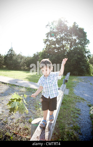 Two year old boy walking on a narrow wooden rail beam holding a tree branch, Kingston, Ontario - Stock Photo