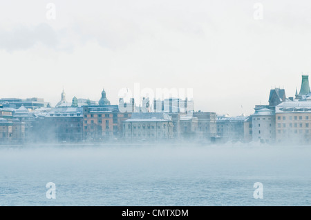 City view with mist - Stock Photo