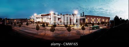 Panoramic view of shipyard in city - Stock Photo
