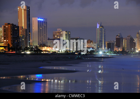 The Durban beach front shortly before dawn. - Stock Photo
