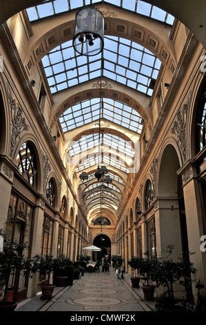 Galerie Vivienne shopping arcade Paris France - Stock Photo