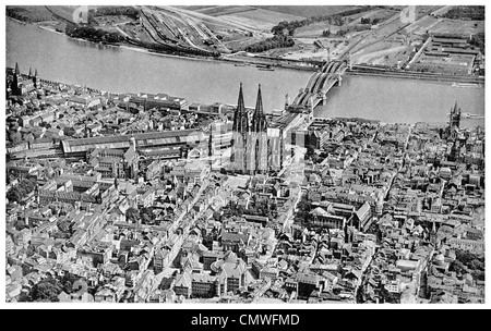 1925 Cologne Cathedral from the air - Stock Photo