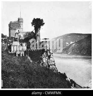 1925 Rhine river the Medieval Castle Burg Rheinstein  near  town of Trechtingshausen in Rhineland-Palatinae Germany - Stock Photo