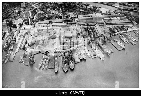 1925 Charlestown Navy Yard Boston Massachusetts dry dock - Stock Photo