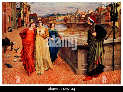 Dante and Beatrice by Henry Holiday  1881 - Stock Photo
