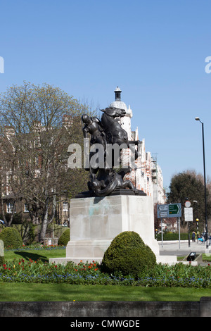 St George slaying the dragon, monument to those killed in both World Wars, St Johns Wood, London, England, UK - Stock Photo