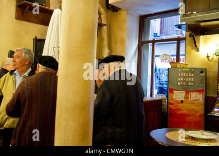 Interior of a Bilbao bar with Basque customers - Stock Photo