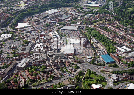 aerial view of Kidderminster town - Stock Photo