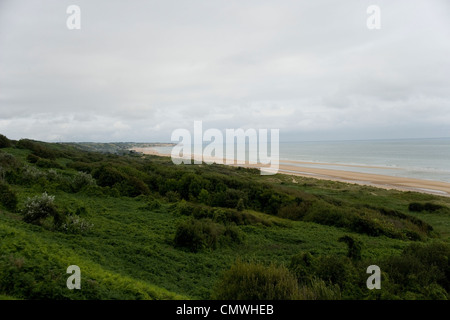 Omaha Beach from the 5th Engineer Special Brigade Memorial remembering the D Day dead sited on German bunker WN62 - Stock Photo