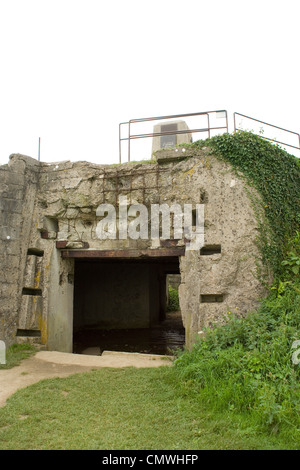 5th Engineer Special Brigade Memorial remembering the D Day dead sited on German bunker WN62 overlooking Omaha Beach - Stock Photo