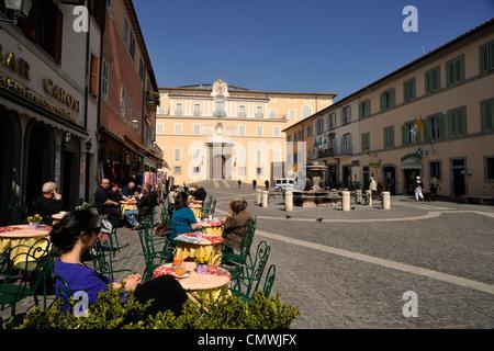 italy, lazio, castel gandolfo, piazza della libertà square, cafe and papal palace - Stock Photo