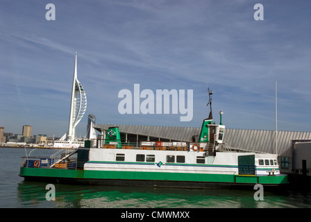 Gosport Ferry mooring with Spinaker Tower looming up over Portsmouth skyline behind, Gosport, Hampshire, UK. - Stock Photo