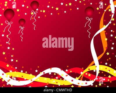 Celebration stars, balloons and ribbons on red - Stock Photo