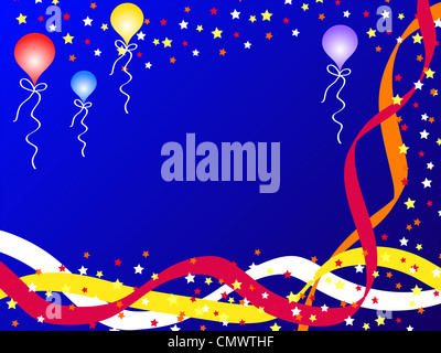 Celebration stars, balloons and ribbons on blue - Stock Photo