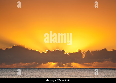 Sunrise over the Coral Sea. Kewarra Beach, Cairns, Queensland, Australia - Stock Photo