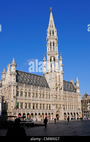Brussels, Belgium. Grand Place. Hotel de Ville / Town Hall. - Stock Photo