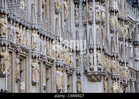 Brussels, Belgium. Grand Place. Hotel de Ville / Town Hall. Facade detail - Stock Photo