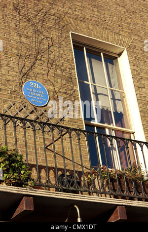 Sherlock Holmes fictional house with the iconic house number displayed next to his famous window in Marylebone, - Stock Photo