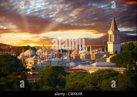 The Sultans Topkapi Palace at sunset, Istanbul, Turkey - Stock Photo