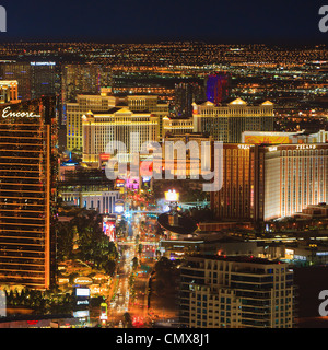 Las Vegas By Night From Stratosphere Tower - Stock Photo
