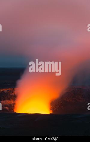 Kilauea Caldera in Hawaii Volcanoes National Park, The Big Island, Hawaii - Stock Photo