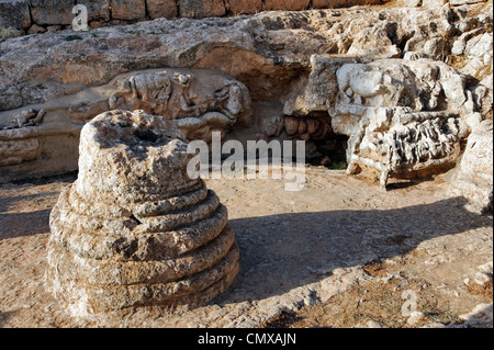 Slonta. Libya. View of the unique rock sculptures at a religious cult sanctuary made by the indigenous Libyan population. - Stock Photo