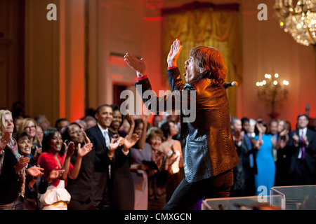 """Mick Jagger performs during the """"In Performance at the White House: Red, White and Blues"""" concert in the East Room - Stock Photo"""