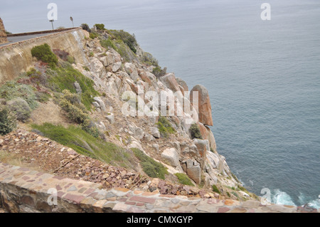 Boulders along capetown southafrica coasline - Stock Photo